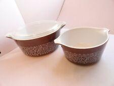 Pyrex Woodland Pattern 2 Casserole Dishes 475-b  & 473-b  2.5l and 1l w/ 1 Lid