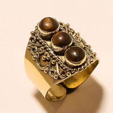 Tiger Eye Fashion Tibetan Silver Vintage Solid Brass Ring Jewelry Sh954