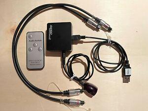 Auvisio 3 in 1 Toslink Switch mit Fernbedienung und zwei Toslinkkabeln