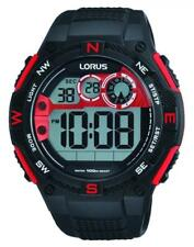 LORUS Gents Black & Red Resin Sports Watch R2309LX-9 - Boxed RRP £35