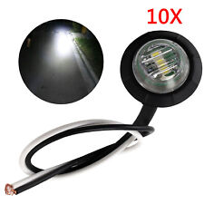 10X 24V REAR SIDE ROUND MARKER LED WHITE LIGHT LAMP FOR LORRY TRUCK TRAILER