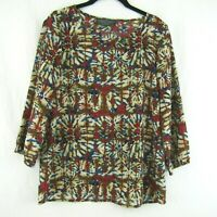Tinley Womens Red Green Blue Blouse Tie Dye Look 3/4 Sleeve Size M Top Shirt