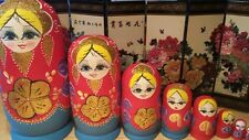 russian nesting doll Set Of 10 Hand made 10.5 inchs tall Red US Seller