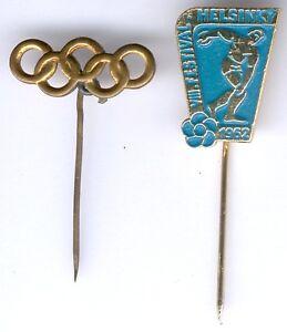 DDR Lot mit 2 Stück 1x NOK Olympia Ehrennadel, 1x Helsinki Diskuswerfen 1962