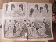 Vintage Print,Double Page,Young Ladies  Hair Styles,La Mode Illustrated,c1876