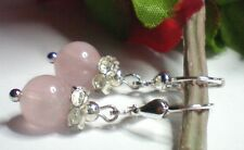 Schicke Rosenquarz Ohrringe Ohrhänger 8 mm Kugeln 925 Silber