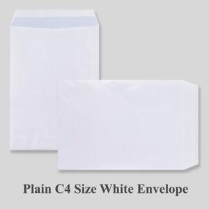 C4 PLAIN White Self Seal 90gsm Envelopes 10 20 50 100 250 500 1000