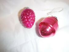 2 Vtg Small Shape Xmas Ornaments Feather Tree Japan Pink Grapes and Another