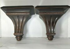 "Pair of Decorative Mahogany color Wall Brackets Shelves. 9.25"" x 9.25"""