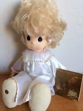 "Precious Moments 18"" Doll Vintage Samuel J Butcher Collection Girl White Dress"