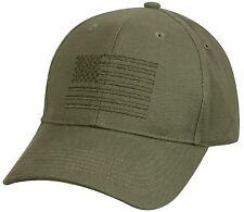 Mens Rothco Olive Drab Green Embroidered USA American Flag Baseball Hat Cap