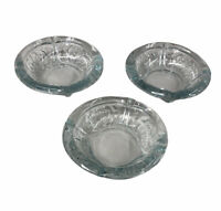 "Crystal Ornamental Floral Clear Glass Ashtray 6"" Vintage Heavyweight (Set of 3)"