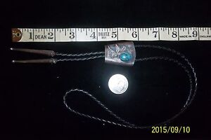 VINTAGE WESTERN COWBOY BOLO  STERLING SILVER turquoise