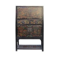 Chinese Distressed Brown People Scenery Graphic Storage Wardrobe Cabinet cs4565