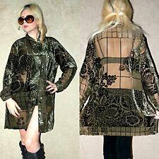 Vtg 90's BURNOUT Tapestry Crushed VELVET Grunge SHEER Mini Shirt Dress Jacket