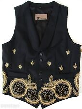 $2900 JOHN GALLIANO RUNWAY Black Gold MEXICAN PEARL Embroidered Vest 44 US-34 S