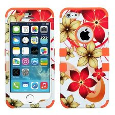 Apple iPhone 5 5S Rubber IMPACT TUFF HYBRID Case Phone Cover Red Flowers Orange