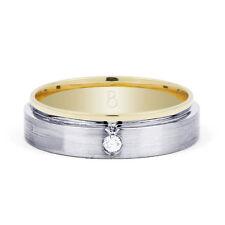 Original 18 karat weiß/Gelbgold & Diamant Herren Ehering - Größe s