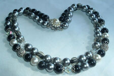 VINTAGE SILVER TONE BLACK GRAY CRYSTAL BEAD RHINESTONE CLASP 2 STRAND NECKLACE