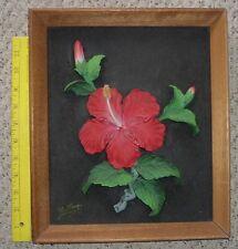 vintage1940s kimo nani relief hibiscus painting hawaii hawaiian