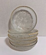 Set of 6 Clear Glass Coasters Gold Trim Classic Design Vintage