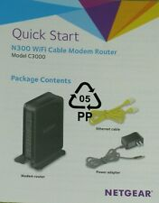 NETGEAR N300 WiFi Cable Modem Router Model C3000 + Power Adapter Ethernet Cable