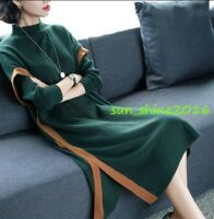 Womens Maxi Dress sweater Casual Long Sleeve Warm Knitting GownTops Blouse Chic