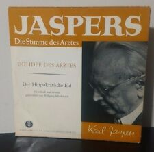 """Karl Jaspers-The Voice of the Doctor/Hippocratic Oath 10"""" Germany Bayer/DGG NM"""