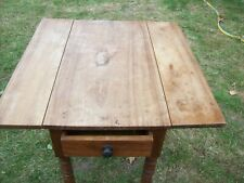 Vintage Victorian Small Kitchen Table with Folding Leaves and Drawer Length 3 ft