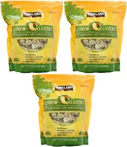 3 PACK KIRKLAND SIGNATURE CASHEW CLUSTERS WITH ALMOND & PUMPKING SEEDS 2 LB EACH