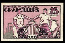 091-INDALO- Granollers, Barcelona. 25 Céntimos Junio 1937. Sello en seco. SC- !!