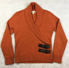 Michael Kors Small Womens Sweater Top Blouse Knit Orange V-neckline Wrap Size S