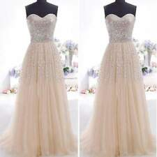 Womens Sequins Ball Gown Long Formal Prom Wedding Party Evening Bridesmaid Dress