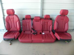 2019 AUDI S3 FRONT & 2ND RIGHT & LEFT SIDE SEAT RED LEATHER COMPLETE 502#A40 OEM