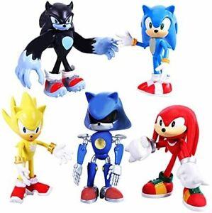 5 Pcs Pack 13cm Sonic The Hedgehog Action Figure AU STOCK Figurine Knuckles Shad