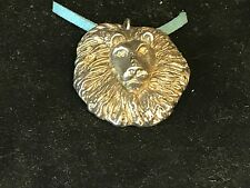 """Lion's Head TG23 English Pewter On 18"""" Blue Cord Necklace"""