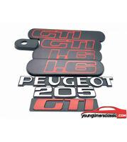 Kit de 5 custodes Peugeot 205 GTI 1L6 noire + 3 monogrammes: PEUGEOT +205+GTI