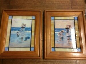 Vintage Pair x 2 Framed Leadlight Glass Pictures Of Kids At The Seaside