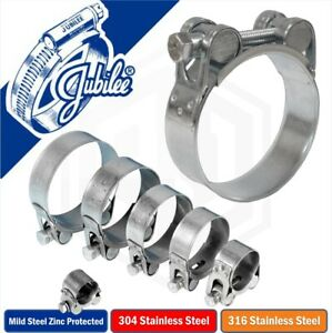 Jubilee Super clamps Heavy Duty T Bolt Stainless A2 A4 Marine Steel Hose Clips