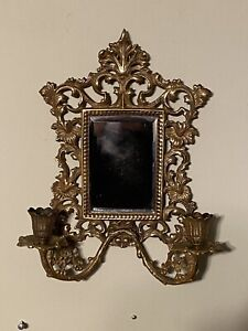Antique Ornate Sculpted Brass Hanging Mirror With 2 Candlestick Holders