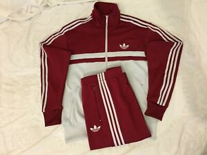 Adidas Originals Adi-Icon Tracksuit Burgundy Grey Size 2XL