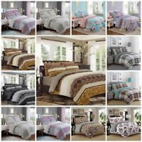 Luxury Style 100% Cotton Reversible 4Pcs Duvet Set with Fitted Sheet Pillow Case