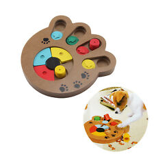 Pet Dog Wooden Game IQ Training Toy Interactive Food Dispensing Puzzle Plate UK