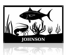 Fish Scene with Lobster and Tuna and Name Metal Art Wall Decor