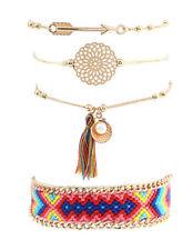 4 teiliges Armband Set Armreif Modeschmuck Vintage Boho Indi Muschel Perle Pfeil