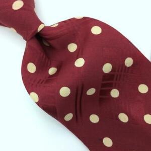 Polo Ralph Lauren Tie Polka Dot Maroon-Red White Silk Necktie I17-132 Vtg/Rare