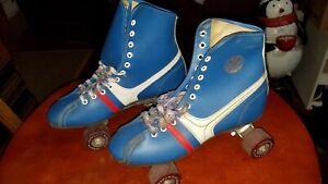 Vintage Fireball Blue Size 7 Official Roller Derby Skates