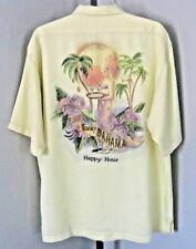 Tommy Bahama Shirt Sz. Medium Yellow Happy Hour Short Sleeve Button Front #1182