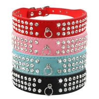 Rhinestone PU Leather Dog Collar for Puppy Yorkshire Poodle Pug Chihuahua XS-L