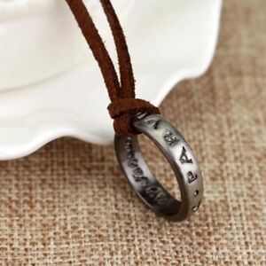 Uncharted Nathan Drake Ring Pendant Necklace Unisex Leather rope